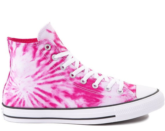 Pink Tie Dye Converse Crystal High Tops Pink Rainbow Pride Custom w/ Swarovski Bling Chuck Taylor All Star 2020 Bride Wedding Sneakers Shoes