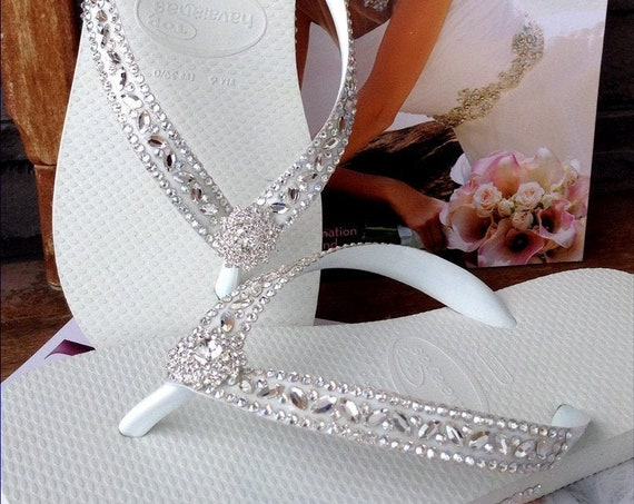 White Wedding Flip Flops Glass Slippers Blushing Bride w/ Swarovski Crystal Rhinestone Bead Beach Bling Havaianas or Cariris Wedge Heel Shoe