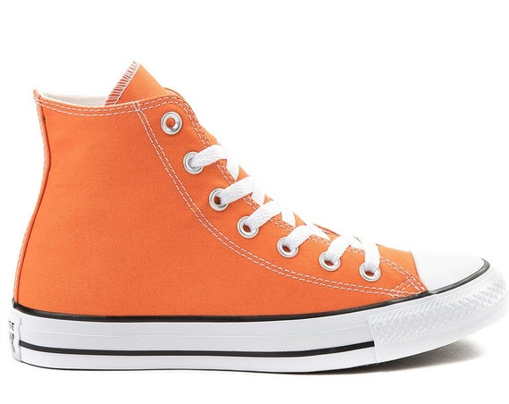 Orange High Tops Converse Poppy Saffron Canvas w/ Swarovski Crystal Rhinestone Bling Jewel Chuck Taylor All Star Wedding Sneakers Bride shoe