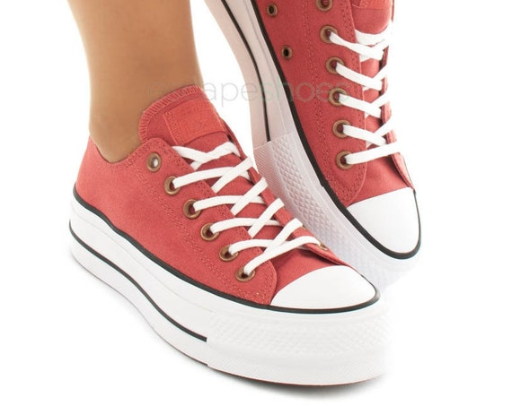 "Red Wood Rust Converse Terra Cotta 1.5"" Platform lift wedge Canvas Low w/ Swarovski Crystal Rhinestone Chuck Taylor All Star Sneakers Shoes"
