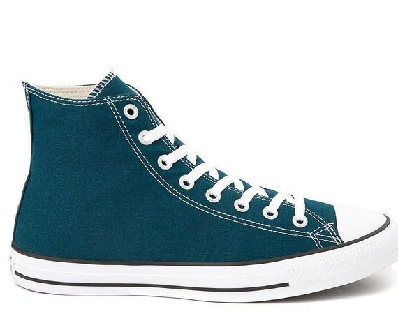 Blue Teal Midnight Turquoise Green Converse High Top Canvas Custom w/ Swarovski Crystal Rhinestone Chuck All Star Wedding Sneakers Shoes
