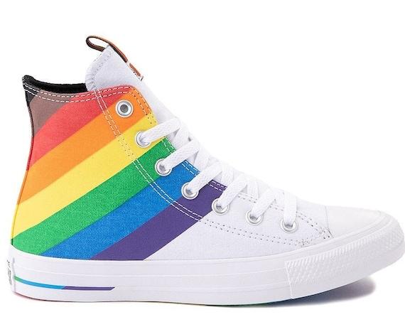 Converse Pride 2020 LGBTQ Gay Rainbow MultiColor White High Top Mens Chuck Taylor Custom w/ Swarovski Crystal Bling All Star Sneakers Shoes