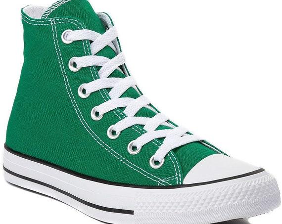 Green High Tops Converse Boys Basketball Custom w/ Swarovski Crystal Rhinestone Jewels Trainers Groom Mens Bridal Wedding Sneakers Shoes