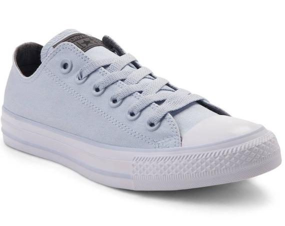 Baby Blue Converse W US 8 Low Top Chuck Taylor II Sky Custom Bling w/ Swarovski Crystal Rhinestone Jewels All Star Wedding Sneakers Shoes