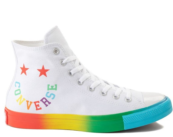 Rainbow Converse High Top Smiley Face Pride Bling White Smile Chuck Taylor Girls Custom w/ Swarovski Crystal All Star Wedding Sneakers Shoes
