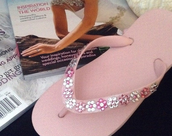 Flower Girl Flip Flops Child Kids slip on Pink Blue White w/ Swarovski Crystal Sandals Blush Bridal Bridesmaid Daisy Floral Wedding Shoes