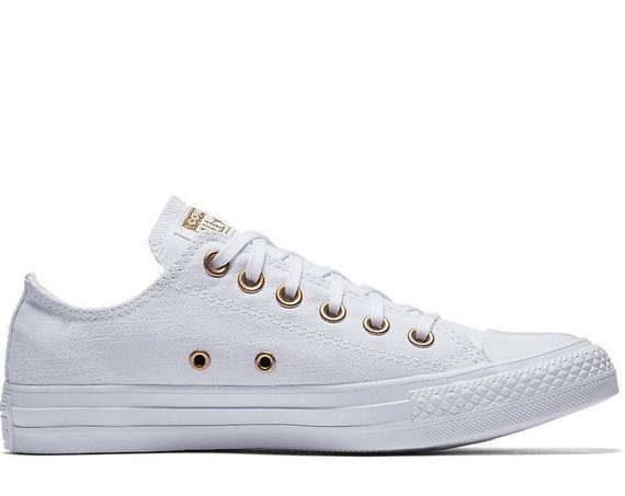 White Converse Low Top Gold Brass Bride Bling Canvas Custom w/ Swarovski Crystal Chuck Taylor Rhinestone All Star Wedding Sneakers Shoes