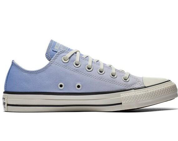 Light Blue Converse Low Ombre wash Sky Robin Egg Canvas w/ Swarovski Crystal Chuck Taylor Rhinestone All Star Wedding Sneakers Bridal Shoe