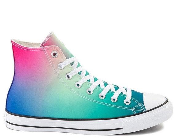 Tie Dye Converse Crystal High Tops Blue Teal Pink Rainbow Pride Custom w/ Swarovski Bling Chuck Taylor All Star Bride Wedding Sneakers Shoes
