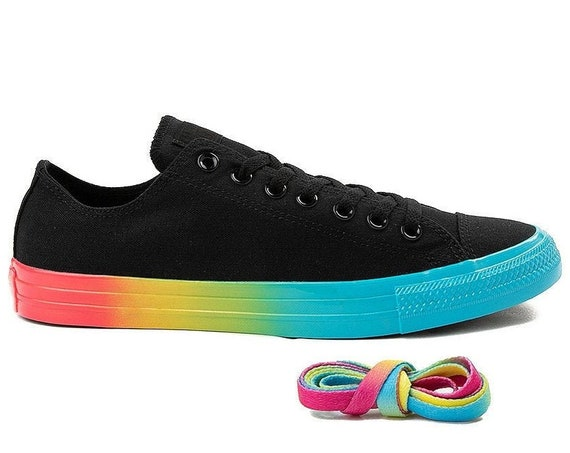 W US size 8 Black Converse Rainbow Low Custom LGTBQ Pride w/ Swarovski Crystal Rhinestone Bling Chuck Taylor All Star Wedding Sneakers Shoes
