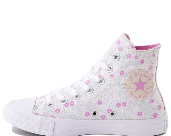 Floral Converse Pink Aqua Ocean High Top Multicolor White Flowers Chuck Taylor Custom w/ Swarovski Crystal All Star Wedding Sneakers Shoes