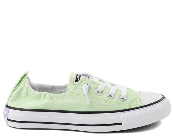 Mint Green Converse Shoreline Slip on Sea Foam Volt Low Top w/ Swarovski Crystal NEW Chuck Taylor All Star Bling Party Wedding Sneakers Shoe