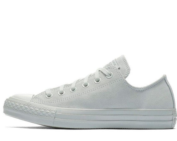 Silver Light Gray Converse Low Top Suede Leather Mono Wedding Chuck Taylor w/ Swarovski Crystal Bling Rhinestone Grey All Star Sneaker Shoes