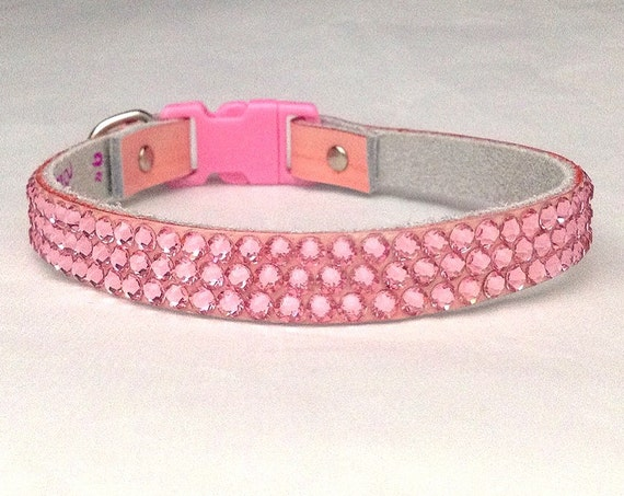 "Custom Pink Leather Pet Collar 8-21"" Swarovski Crystal Buckle or Breakaway Safety style Bling Baby Girl Light Rose Kitty Cat Dog Jewelry"