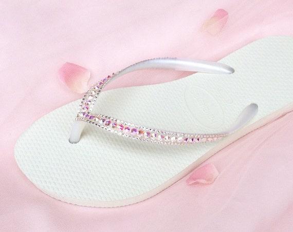 Custom Havaianas Slim Flip Flops Blush Pink White Wedding Crystal AB Iridescent w/ Swarovsk Rhinestone Jewel Bling Bridal Sandal Beach Shoes
