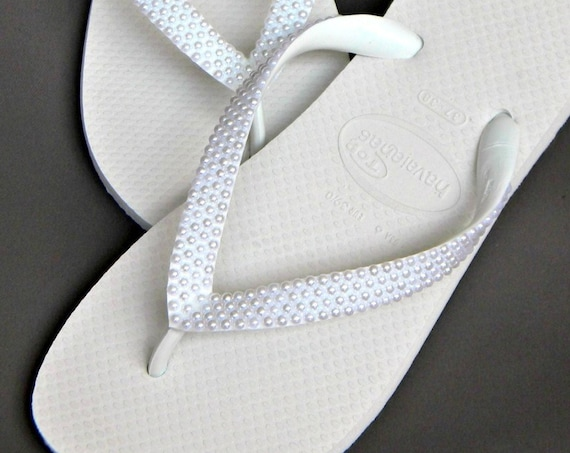 Pearl Havaianas fFlip Flops or Cariris Wedge heel w/ Swarovski Crystal sandal Beach Wedding Shoe Bridal Bridesmaid Flower Girl Thong Slipper