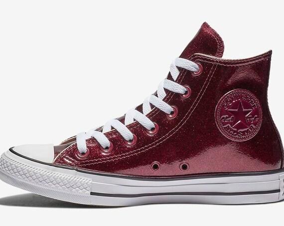 Sparkle Converse Glitter Burgundy Red Wine Maroon Purple High Top Bling w/ Swarovski Crystal Jewel Bridal Chuck Taylor Wedding Sneakers Shoe