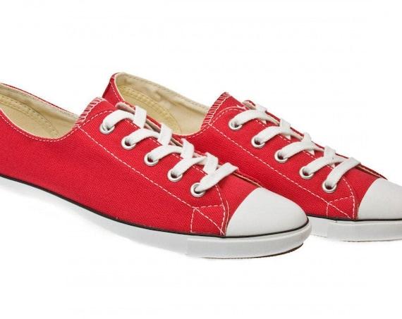 Red Converse Light Slim Slip on Custom Kicks w/ Swarovski Crystal Jewels Rhinestone Bling Chuck Taylor All Star Bride Wedding Sneakers Shoes