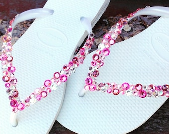 2673073f7544a White Pink Flip Flops Rose Crystal Havaianas Slim w  Swarovski Rhinestone  Beach Sea Glass Slippers Wedding Sandals Bling Jewels Bridal shoes
