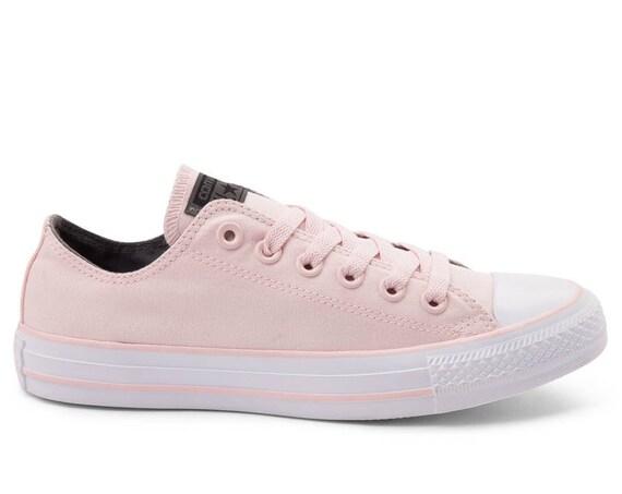 Baby Pink Converse Low Top Blush Rose Bridal Custom Bling w/ Swarovski Crystal Rhinestone Jewels Chuck Taylor All Star Wedding Sneakers Shoe