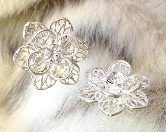 Silver or Gold Fused Floral Filigree Earrings Swarovski Crystal Clear Rhinestones 22.5mm Titanium Post Flower Minimalist Stud Ladies Jewelry