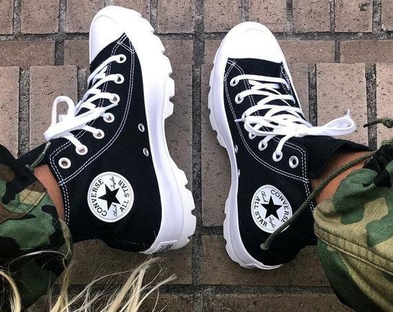 Black Platform Converse Canvas Wedge High Top Lugged Club Kicks Custom w/ Swarovski Crystal Rhinestone Chuck Taylor All Star Sneakers Shoes