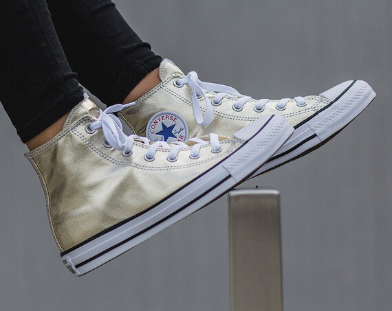 Gold Converse High Top Wedding Metallic Canvas Custom w/ Swarovski Crystal Bride Chuck Taylor Rhinestone Bling All Star Bridal Sneakers Shoe