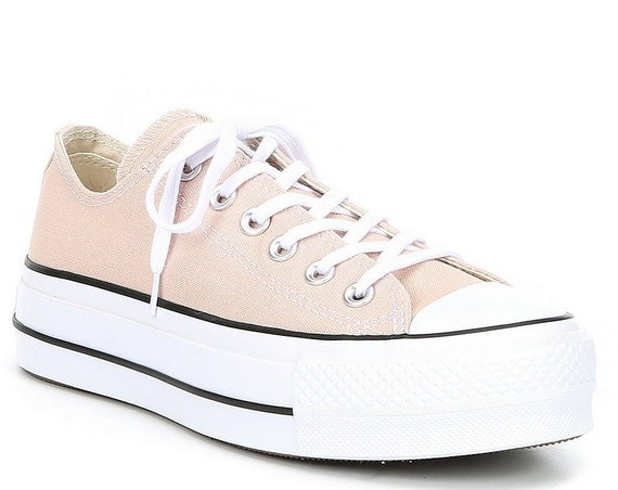 Peach Beige Converse Platform Heel Ivory Lift Canvas Low Top Club Kicks w/ Swarovski Crystal Chuck Taylor All Star Wedding Sneakers Shoes