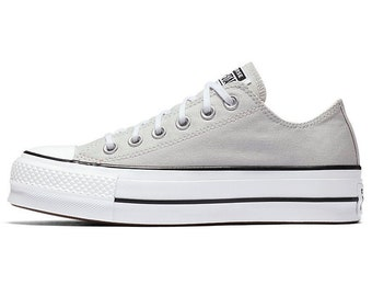 00fe224916cc Gray Converse Platform lift heels wedge White Grey Canvas Low Top Club w  Swarovski  Crystal Rhinestone Chuck Taylor All Star Sneakers Shoes