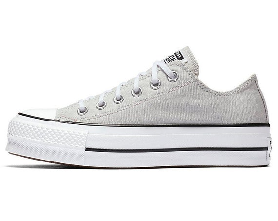 Gray Converse Platform lift heels wedge White Grey Canvas Low Top Club w/ Swarovski Crystal Rhinestone Chuck Taylor All Star Sneakers Shoes