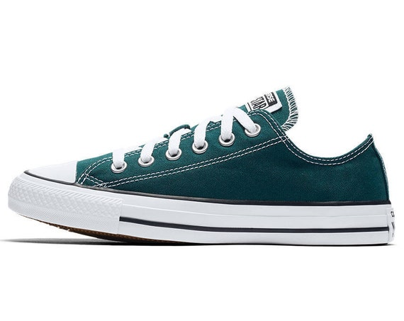 Teal Green Converse Ocean Blue Low Top Canvas Custom Bling w/ Swarovski Crystal Rhinestone Jewels Mens Chuck Taylor All Star Sneakers Shoes