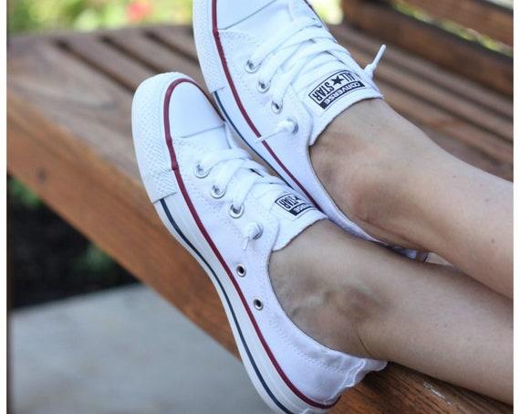 White Converse Shoreline Slip on Ladies Custom Kicks w/ Swarovski Crystal Rhinestone Jewels Bling Beach Chuck Taylor All Star Sneakers Shoes