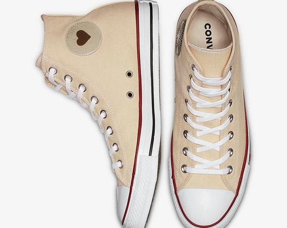 White Sand Ivory Converse High Top Love Heart Bride Custom w/ Swarovski Crystal Chuck Taylor Rhinestone Bling All Star Wedding Sneakers Shoe