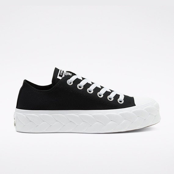 Converse Black Platform Knit Cable Lift wedge Canvas Low Club w/ Swarovski Crystal Rhinestone Chuck Taylor All Star Wedding Sneakers Shoes