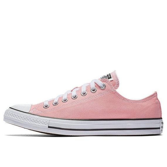 Pink Converse Low Top Daybreak Blush Storm Rose Bride Custom Canvas w/ Swarovski Crystal Chuck Taylor All Star Bling Wedding Sneakers Shoes