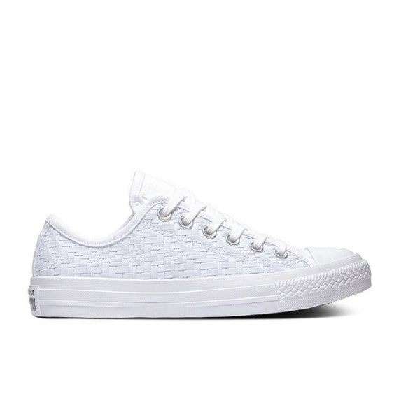 White lace Converse Low Mono Bride Woven Weave w/ Swarovski Crystal Chuck Taylor Rhinestone All Star Bridal Wedding Sneakers Summer Shoes