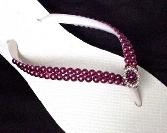4b707db6704 Purple Pearl Flip Flops Havaianas Slim Amethyst Burgundy Wine Custom w  Swarovski  Crystal Vintage Silver Filigree Bridesmaid Wedding shoes