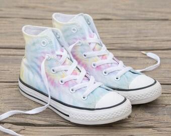 Tie Dye Converse High Top Pastel Canvas Rainbow Custom Kicks w  Swarovski  Crystal Rhinestone Chuck Taylor All Star Ladies Kids Sneakers Shoe fdd8e9228