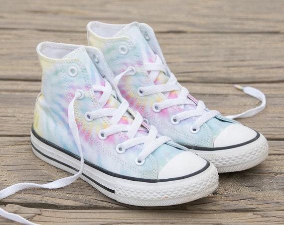 Tie Dye Converse High Top Pastel Rainbow Canvas Custom Kicks w/ Swarovski Crystal Rhinestone Kids Womens Chuck Taylor All Star Sneakers Shoe