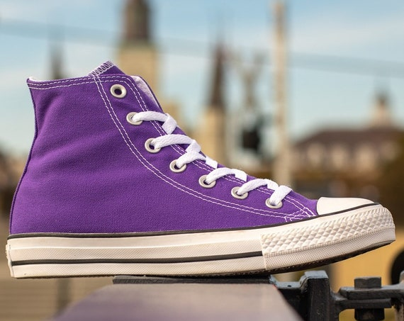 Purple Converse High Top Electric Grape Custom Bling Kicks w/ Swarovski Crystal Rhinestone Jewel Chuck Taylor All Star Wedding Sneakers Shoe