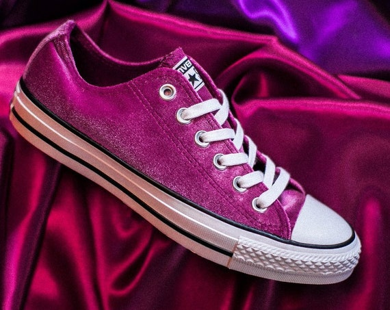 Hot Pink Velvet Converse Low Top Ladies Fuchsia Magenta w/ Swarovski Crystal Jewel Bridal Chuck Taylor All Star Bride Wedding Sneakers Shoes