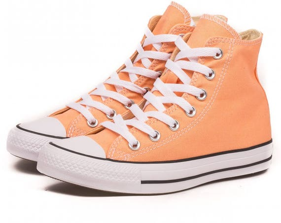 Peach Converse High Top Sunset Apricot w/ Swarovski Crystal Bling Wedding Chuck Taylor Rhinestones All Star Bridal Girl Bride Sneakers Shoes