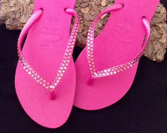 Hot Pink Havaianas Slim Flip Flops Rose Fuchsia Magenta Crystal Custom Wedding w/ Swarovski Rhinestone jewels Bling Beach Bride Sandal Shoes