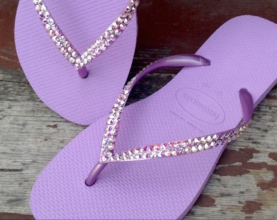 Violet Purple Flip Flops Lilac Orchid Havaianas Slim flats Custom Crystal Lavender w/ Swarovski Rhinestone Jewels Bling Bridal Wedding Shoes