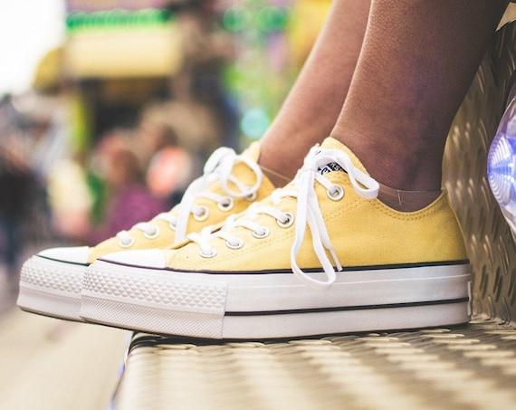 Butter Yellow Converse Platform Lemon Lift Canvas Low Club Kick w/ Swarovski Crystal Chuck Taylor All Star Wedding Sneaker Beach Bridal Shoe