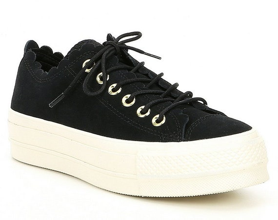 Black Converse Platform Ruffle Gold Frill Suede Leather Lift Low Top Kicks w/ Swarovski Crystal Chuck Taylor All Star Wedding Sneakers Shoes