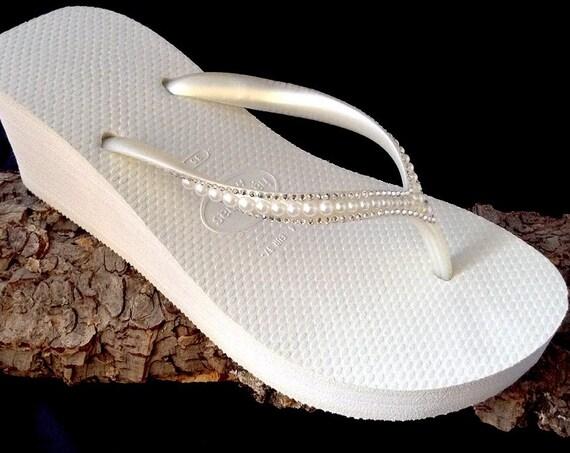 Off White Havaianas High Wedge Heel Flip Flops 2.4 w/ Swarovski Crystal Rhinestone Pearl Sophisticate Ivory Bride Wedding Bling Bridal Shoes