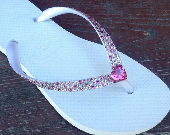 White Havaianas Slim Flip Flops Pink Heart Custom Wedding Confetti w/ Swarovski Crystal Vintage Rhinestone sandals Beach Bridal Shoes Thongs