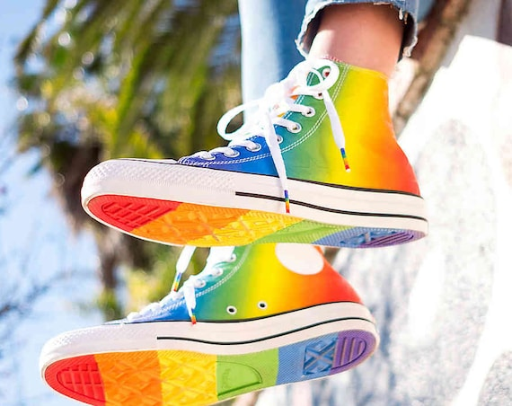 Rainbow Converse High Top Ladies Mens Pride Parade Custom LGTBQ w/ Swarovski Crystal Rhinestone Bling Chuck Taylor All Star Sneakers Shoes