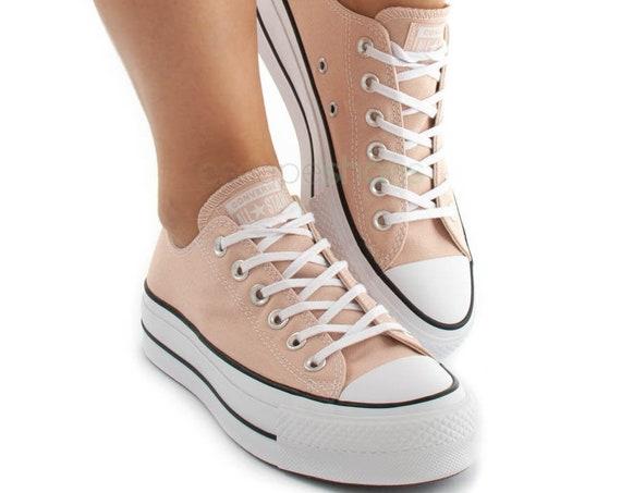 "Peach Beige Converse 1.5"" Platform Heel Lift Neutral Canvas Low Club Kicks w/ Swarovski Crystal Chuck Taylor All Star Wedding Sneakers Shoes"